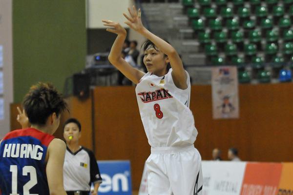 3ポイントシュートを100%決めた宮元美智子選手